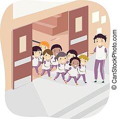 ginásio, crianças, stickman, professor, ilustração