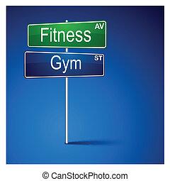 ginásio, direção, sinal., estrada, condicão física