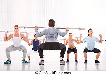 ginásio, diverso, grupo, exercitar, pessoas