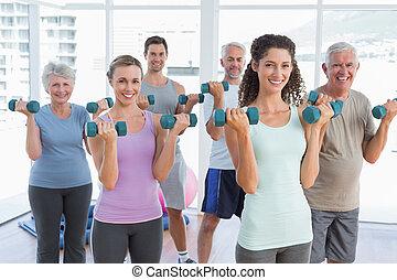 ginásio, dumbbells, exercitar, classe