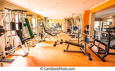 ginásio, e, condicão física, room.