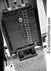 ginásio, exercite equipamento, -, peso, seletor