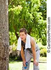 ginásio, homem, após, esvaziado