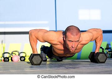 ginásio, homem, push-up, força, pushup, com, dumbbell