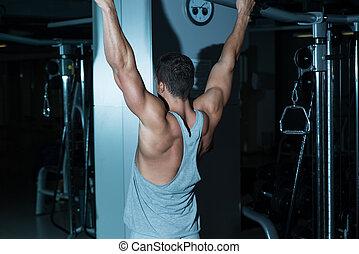 ginásio, malhação, costas