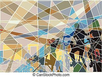 ginásio, mosaico