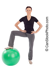 ginásio, mulher, amigável, bola, condicão física