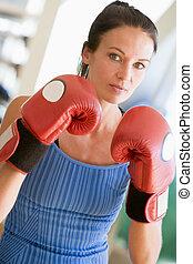 ginásio, mulher, boxe