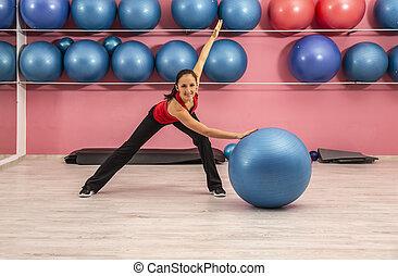 ginásio, mulher, condicão física, jovem