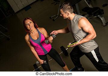 ginásio, mulher, exercício, homem