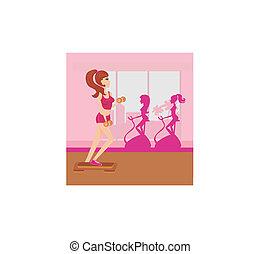 ginásio, mulher, exercitar