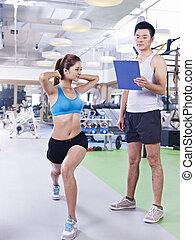 ginásio, mulher, jovem, exercitar