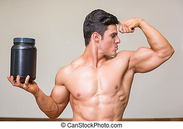 ginásio, nutritivo, muscular, suplemento, posar, homem