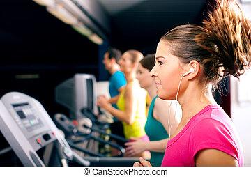 ginásio, treadmill, executando, pessoas