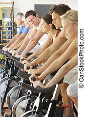 ginásio, tripule ciclismo, girar, classe