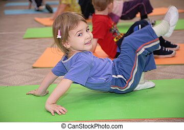 ginástica, 3, acoplado, menina