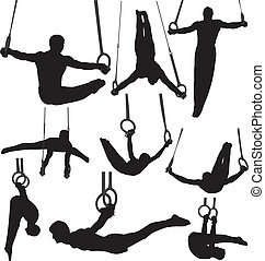 ginástica, silhuetas, vetorial, anéis