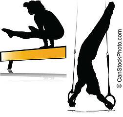 ginástica, silhuetas, vetorial, desporto