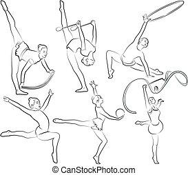ginásticas rítmicas, jogo, -, esboços