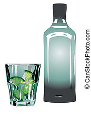 gin and tonic in glass with lime isolated on white