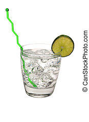 Gin and Tonic Isolated - Gin and tonic with lime and swizzle...