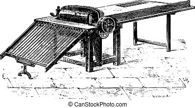 Gin flax Arquembourg system, vintage engraving.