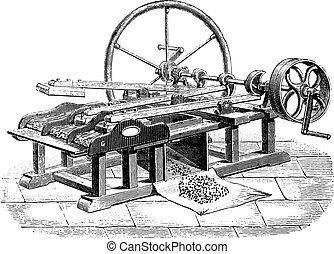 Gin flax Legris system, vintage engraving.