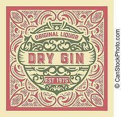 Gin label design. Vintage style