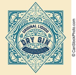Gin label for packing with floral ornaments