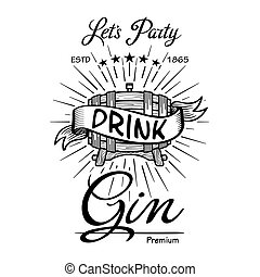 Gin label vintage hand drawn border typography blackboard vector. Alcohol. Wooden barrels drinks signs. Typographic badges with sketched kegs. Used for restaurant, cafe, bar menu. retro