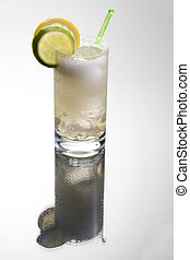Gin or vodka tonic with lemon and lime sleces garnish on grey background with reflection