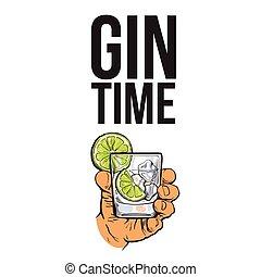 gin, vodka, main, arrosez verre, tenue, glace, chaux