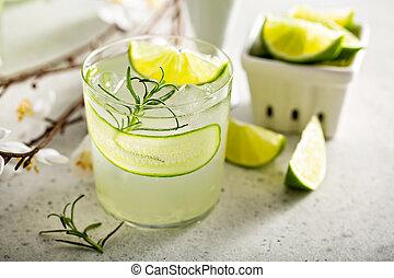 gin, vrille, concombre