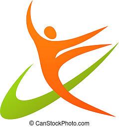 ginasta, -, /, 1, logotipo, ícone