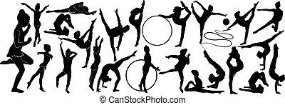 ginasta, atleta, isolado, fundo, menina, branca