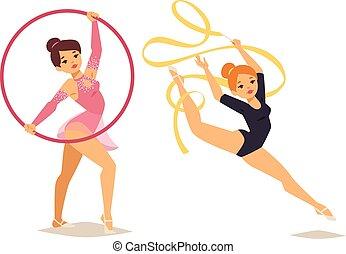 ginasta, menina, vetorial, ilustração
