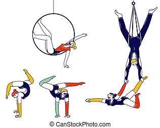 ginasta, ou, circo, esportes, pessoas, caráteres, ginástica...
