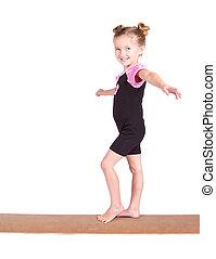 ginasta, viga, jovem, equilíbrios