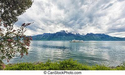 Ginebra, barco, lago,  montreux, vapor, Banco