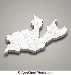 ginebra, mapa, suiza, 3d, isométrico, cantón