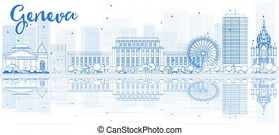 ginebra, reflections., edificios, contorno, contorno, azul
