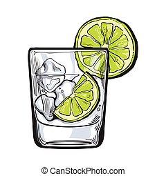 ginebra, vidrio, agua helada, cal, soda, vodka