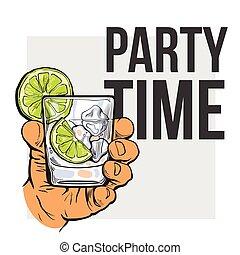 ginebra, vodka, mano, cristal del agua, tenencia, hielo, cal