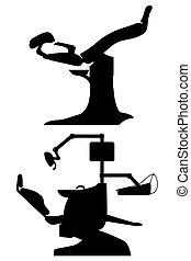ginecológico, y, silla dental, negro, ilustración