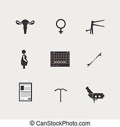 ginecología, vector, iconos