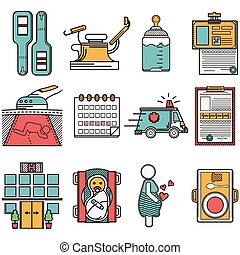 ginecologia, appartamento, set, vettore, icone