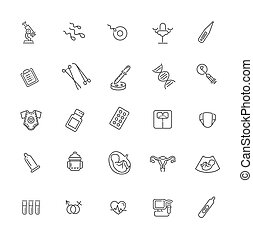 ginecologia, icons., vettore, set