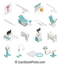 ginecologia, isometrico, set, icone