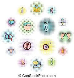 ginecologia, set, icone