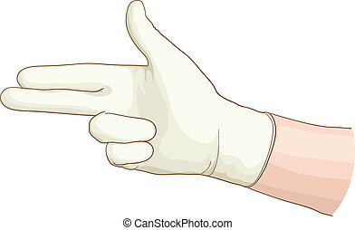 ginecologista, mão, com, um, látex, glove.